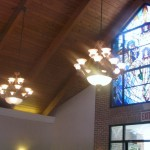 FINELY CRAFTED STAINED GLASS, WOOD CEILINGS, AND BEAUTIFUL CHANDELIERS